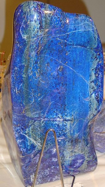 A polished block of lapis lazuli