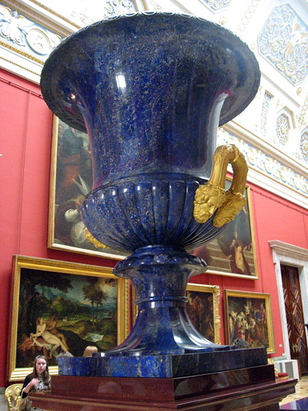 A lapis lazuli urn two meters high from the State Hermitage Museum in Saint Petersburg, Russia (19th century).