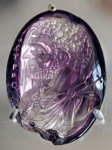 Roman intaglio engraved gem of Caracalla in amethyst, once in the Treasury of Sainte-Chapelle.