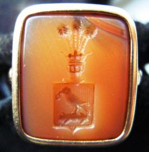 Polish signet ring in light-orange Carnelian intaglio showing Korwin coat of arms