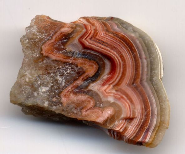 Banded agate (agate-like onyx); the specimen is 2.5 cm (1 inch) wide