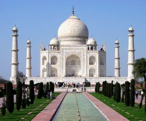 The Taj Mahal is entirely clad in marble.