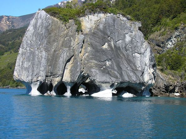 Folded and weathered marble at General Carrera Lake, Chile
