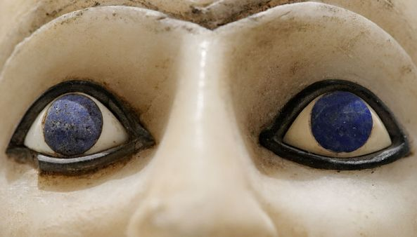 Close-up of the lapis lazuli inlays in the 25th-century BC Statue of Ebih-Il