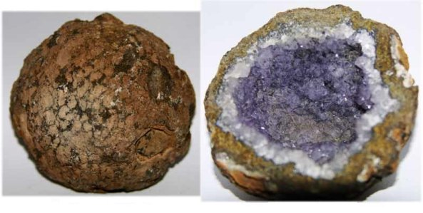 An amethyst geode that formed when large crystals grew in open spaces inside the rock.