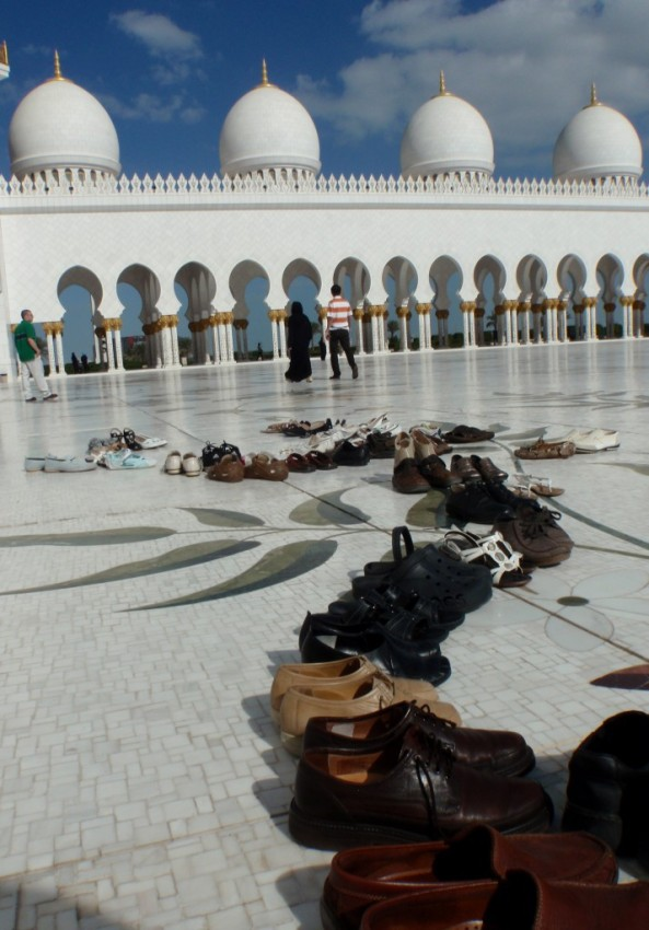 The Sheikh Zayed Grand Mosque. More shoes in the courtyard.
