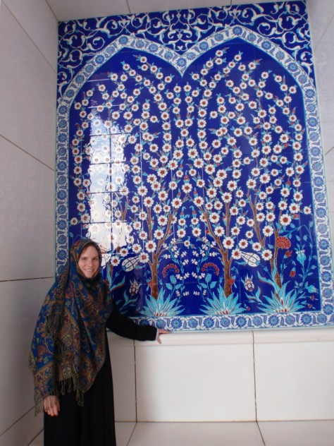 Sheikh Zayed Grand Mosque. Yours truly posing with some beautiful tilework.