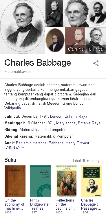 Charles Babbage Biodata
