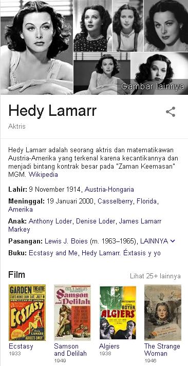 Hedy Lamarr Biodata