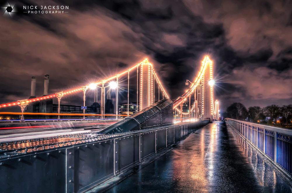 Rainy day on Chelsea Bridge, London