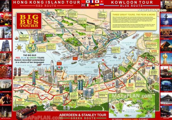 Hong Kong top tourist attractions printable map