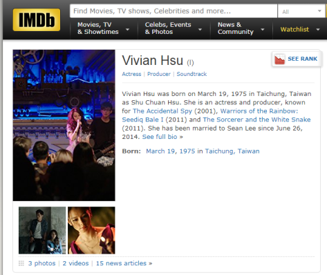 vivian hsu IMDb