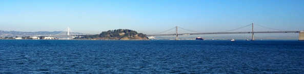 San Francisco–Oakland Panoramic view of the Bay Bridge with new eastern span