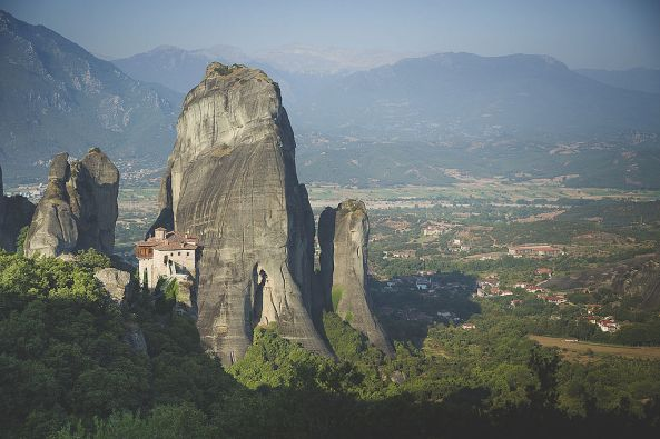 High_above_Kalambaka_at_Meteora-Monastery of Rousanou